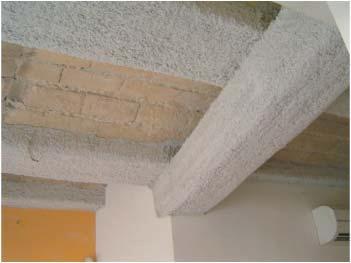 Protección contra el fuego de vigas de madera con mortero de lana de roca