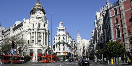 Centro de Madrid cruce Calle Álcala con Calle Gran Via.