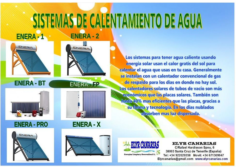 Calentadores agua enera canarias