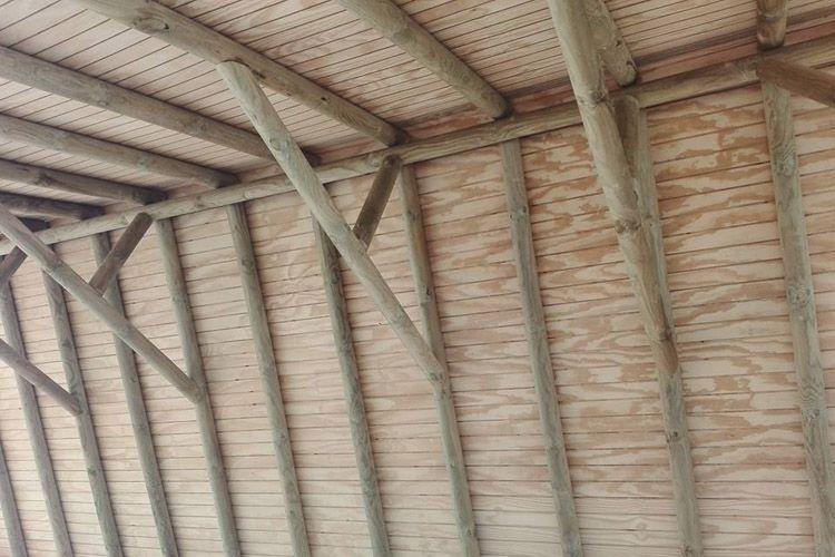 Interior de pérgola de junco africano