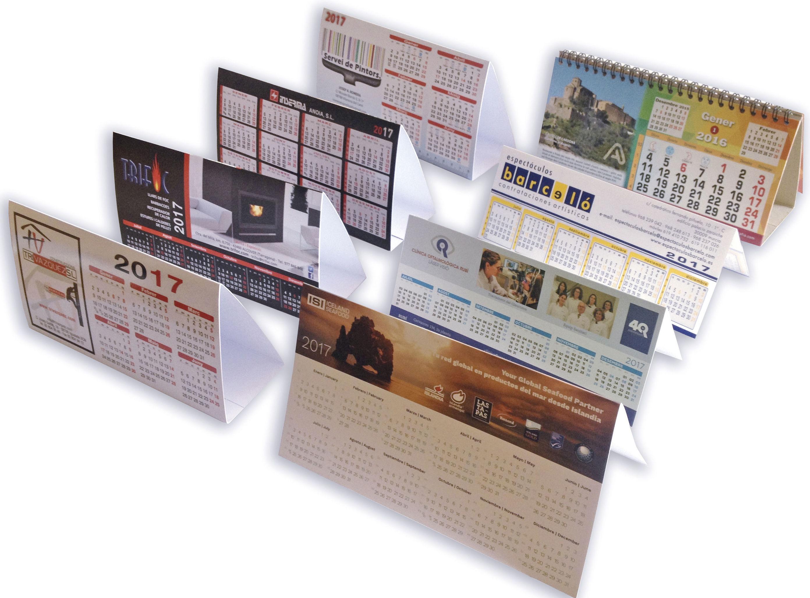 Calendarios pvc, cartón, espiral