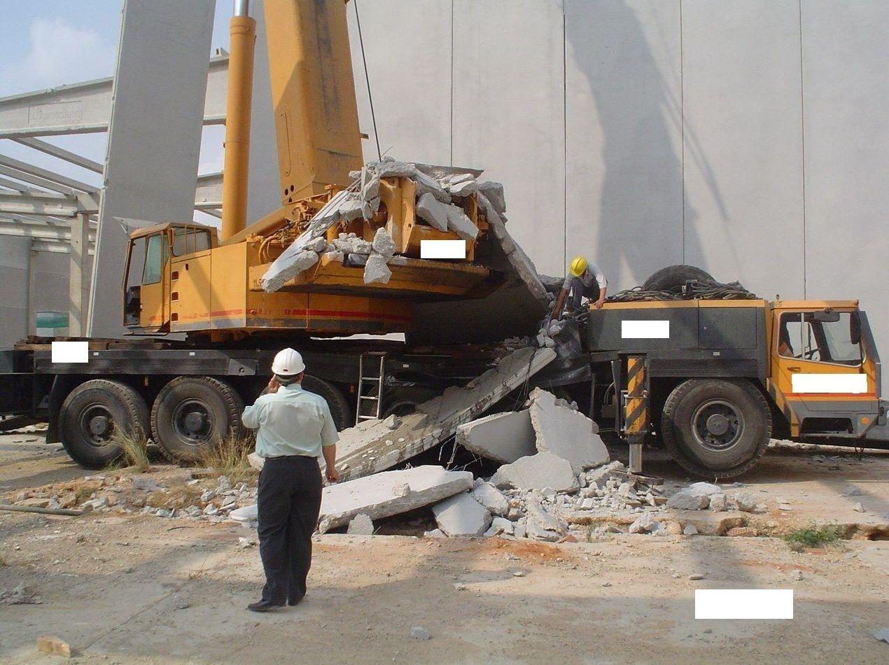Caída placas de hormigón