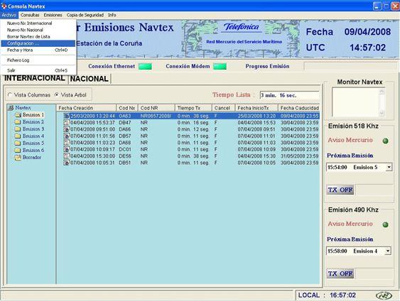 Software de gestión de transmisión Navtex: Productos de Invelco, S.A.