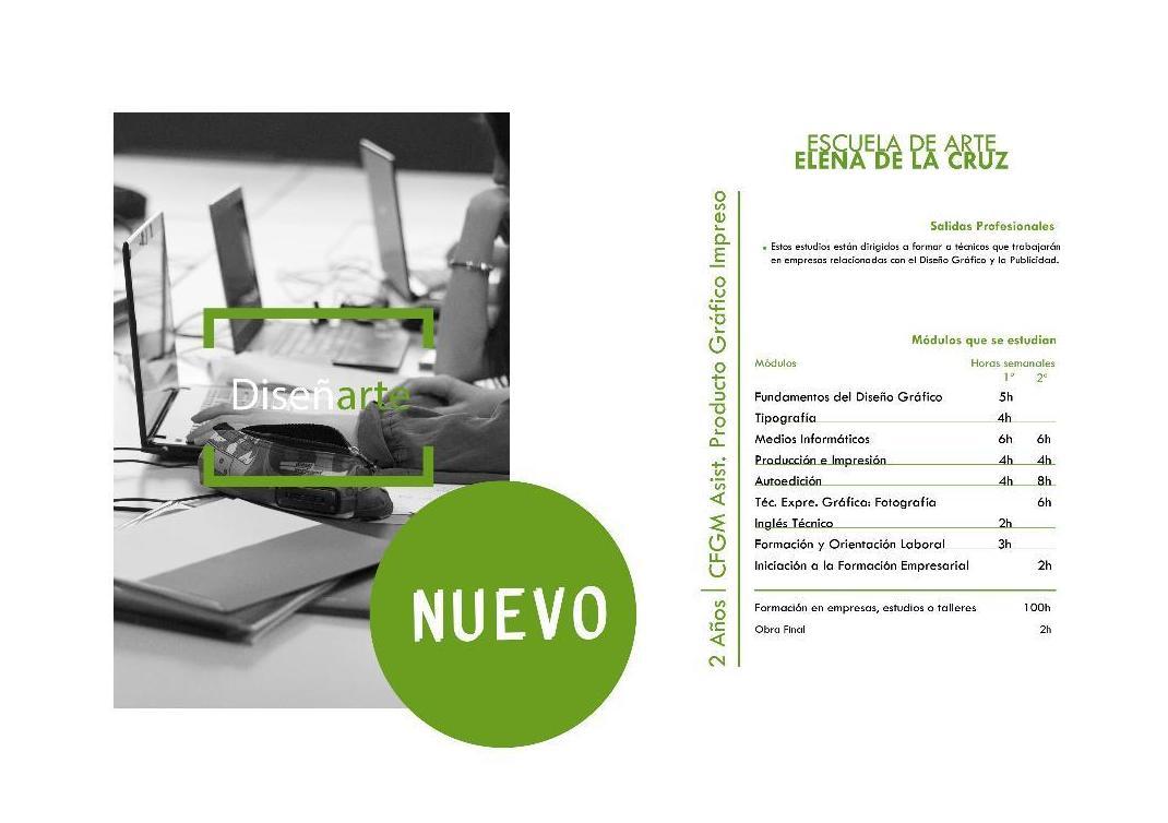 Oferta Educativa: Servicios e información de Escuela de Arte Elena de la Cruz