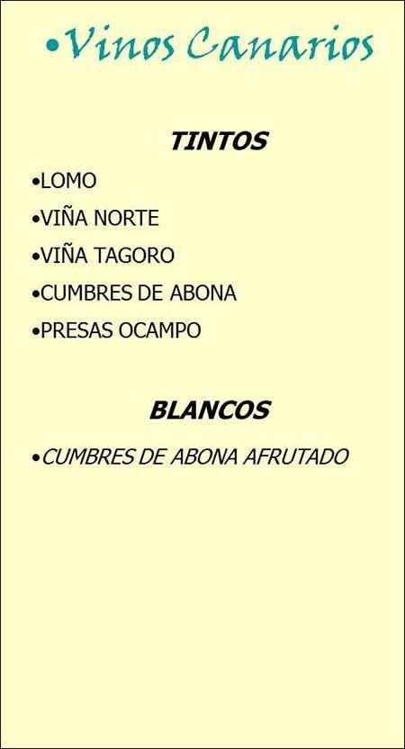 Vinos canarios: Servicios de Restaurante las Palmeras de Fasnia