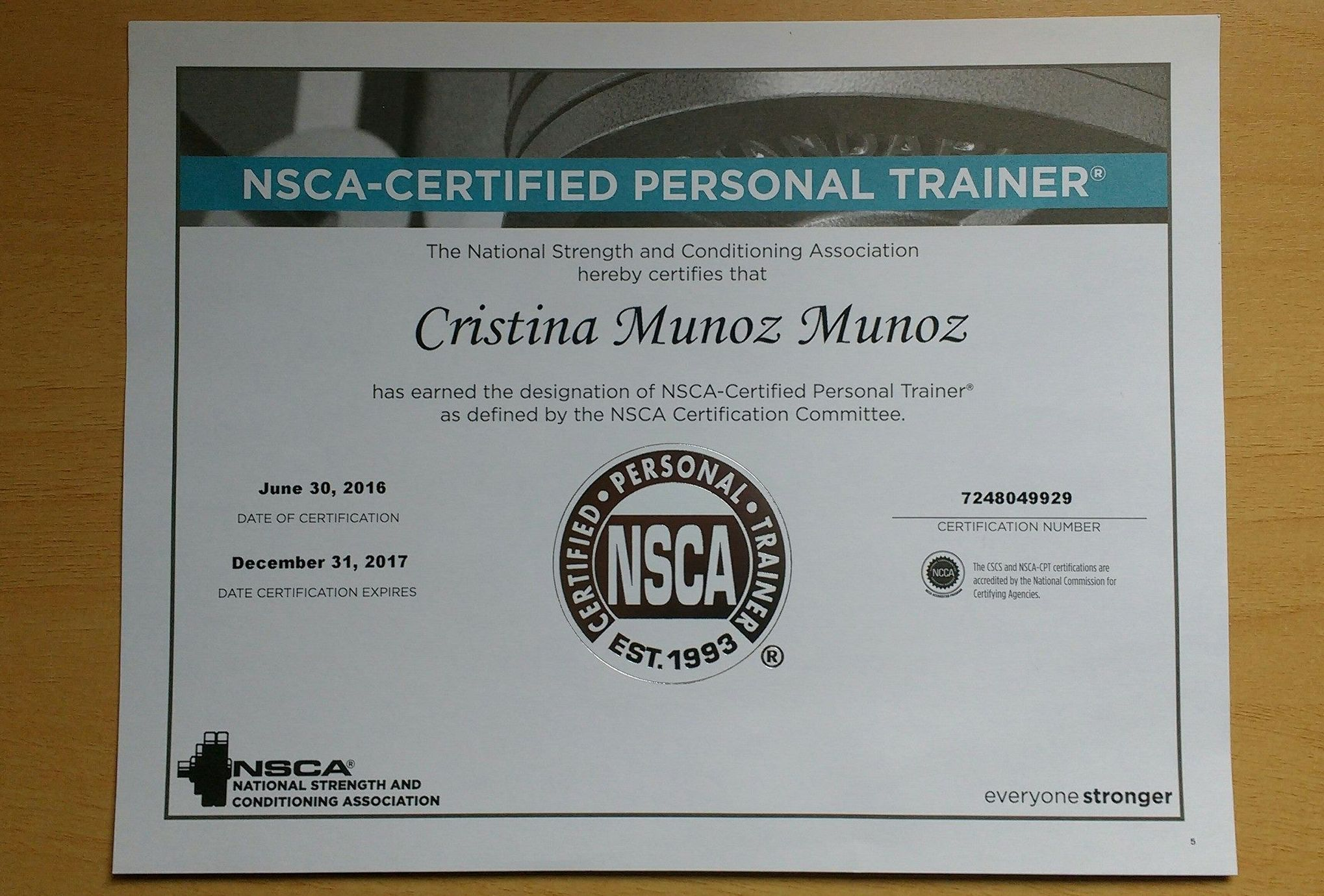 Personal Trainer Certification Nsca