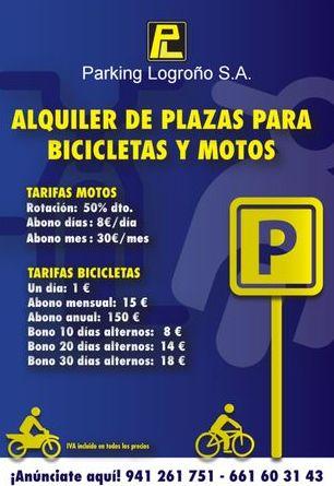 Tarifas y abonos para bicicletas y motos en Parking Logroño