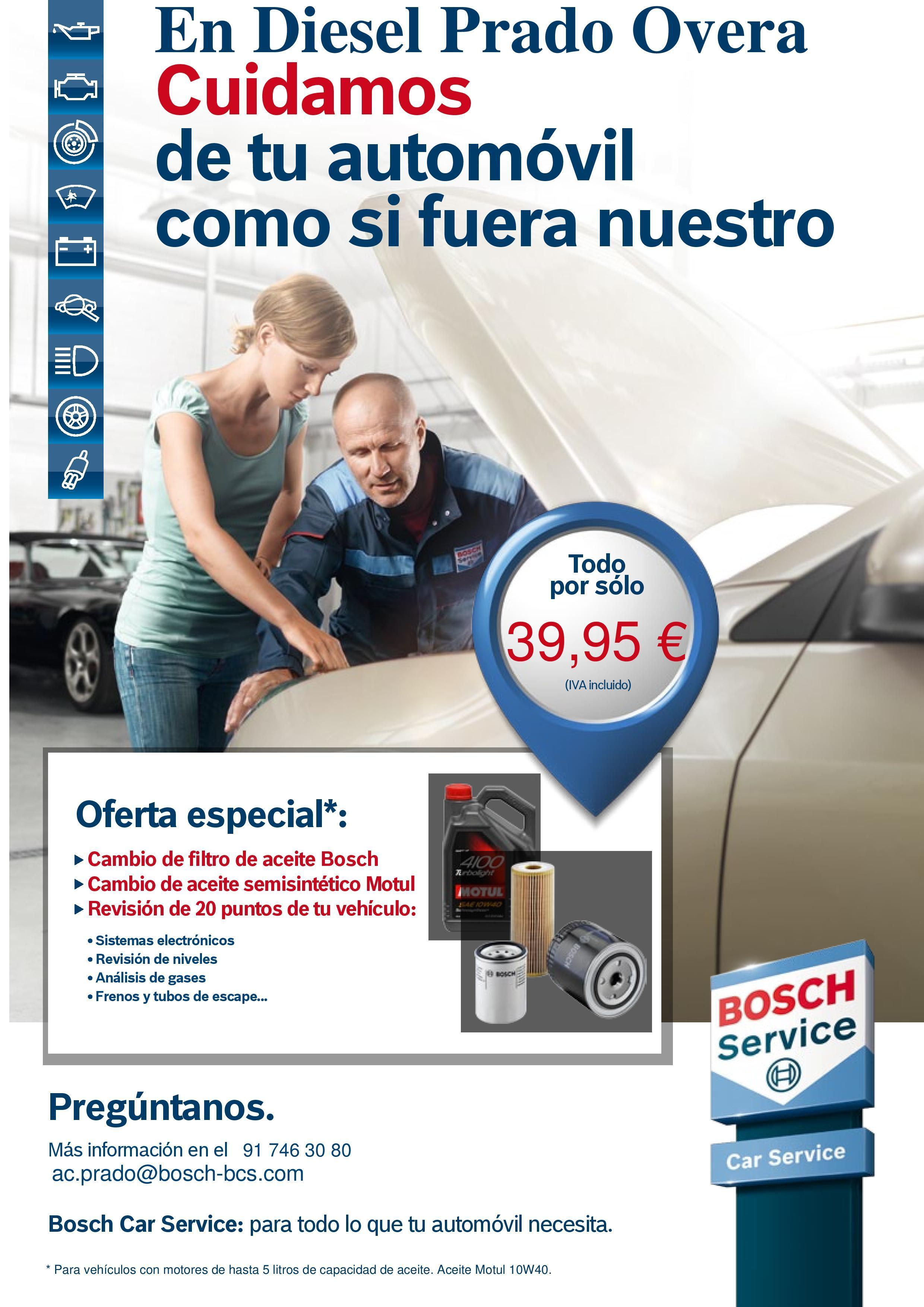 OFERTA CAMBIO DE ACEITE 10W40 Y FILTRO DE ACEITE BOSCH: Productos de Diesel Prado Overa