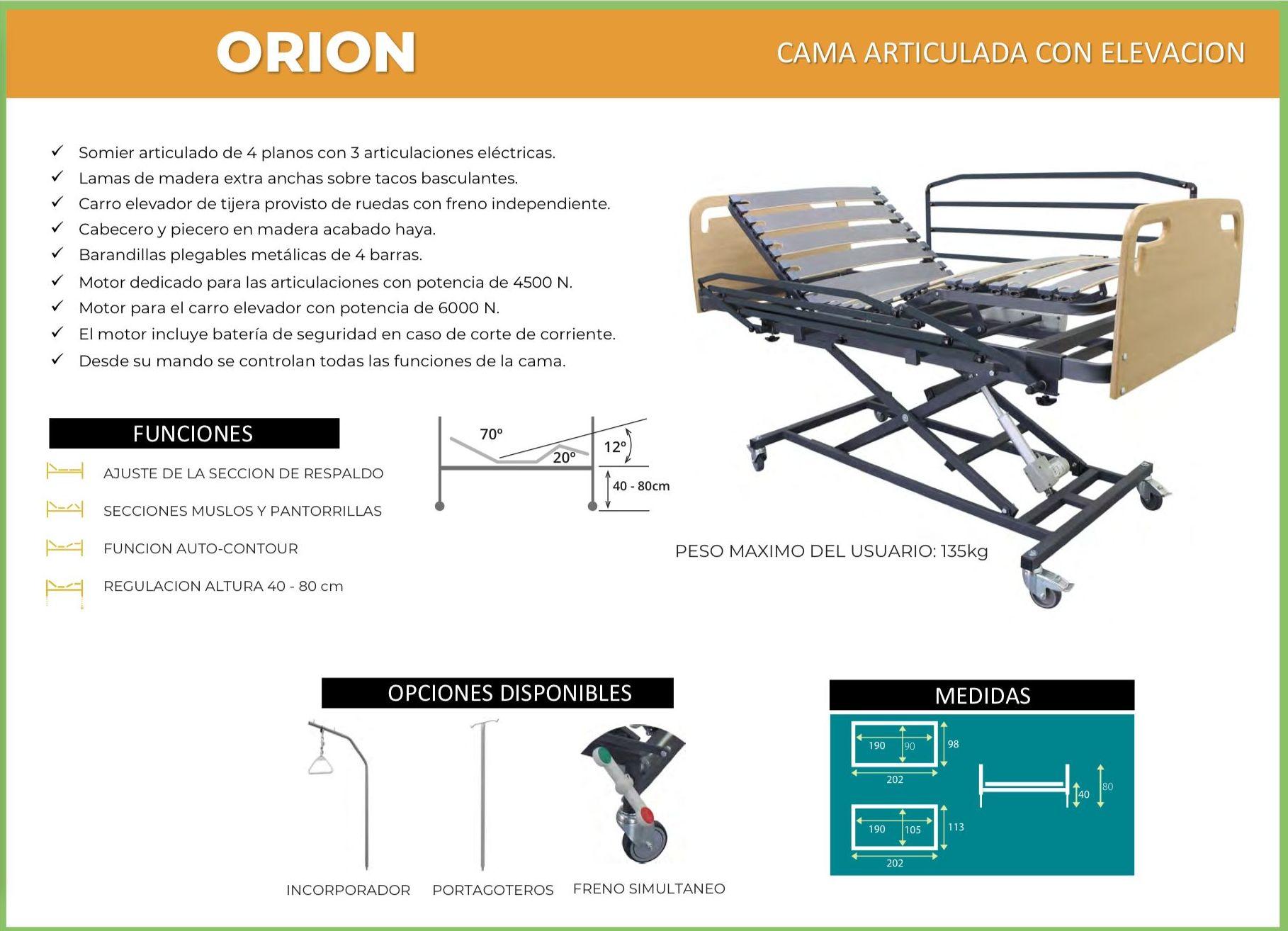 Cama articulada con carro elevador Orion: TIENDA ONLINE de Ortopedia La Fama