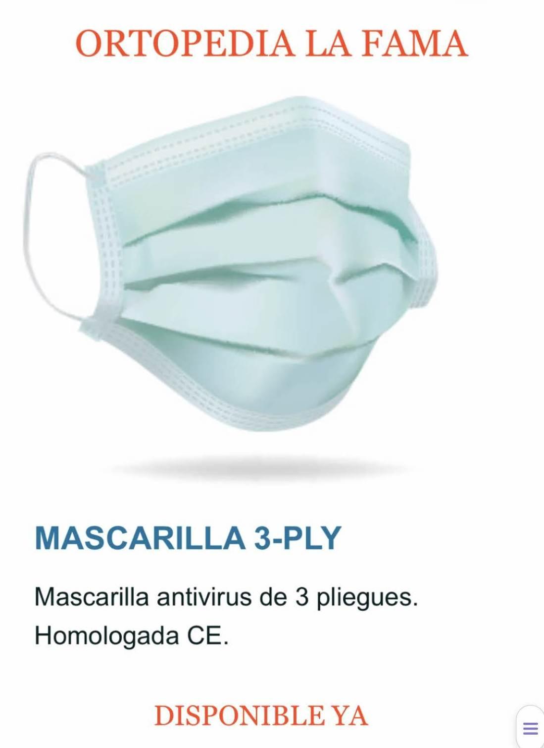 Mascarilla 3 pliegues