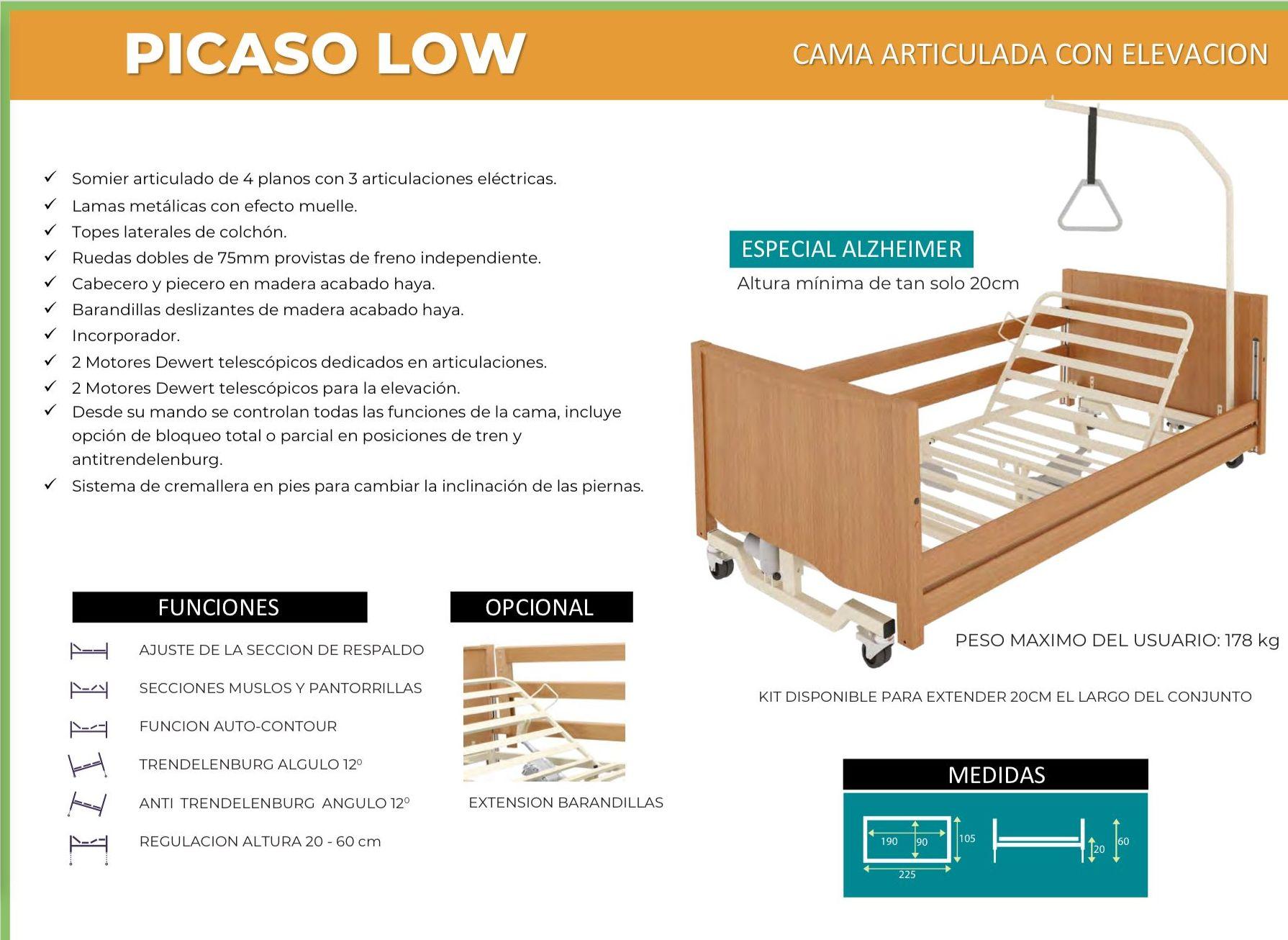 Cama Articulada Picaso Low: TIENDA ONLINE de Ortopedia La Fama