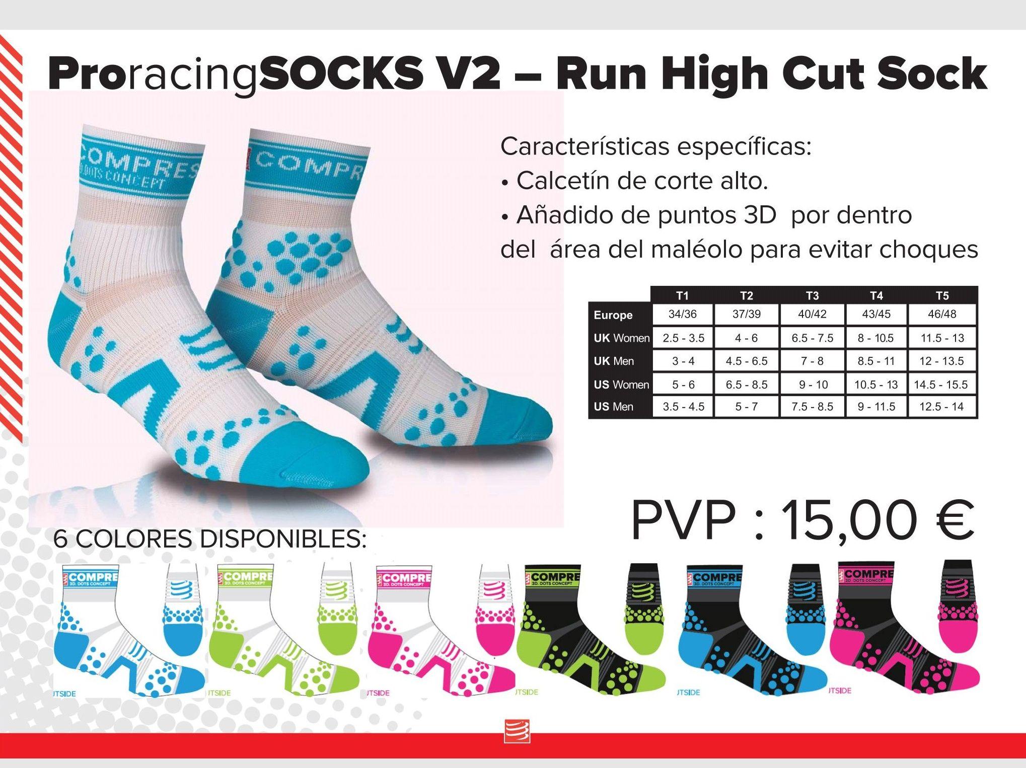 Pro racing Socks V2 Run High Cut Sock: TIENDA ONLINE de Ortopedia La Fama