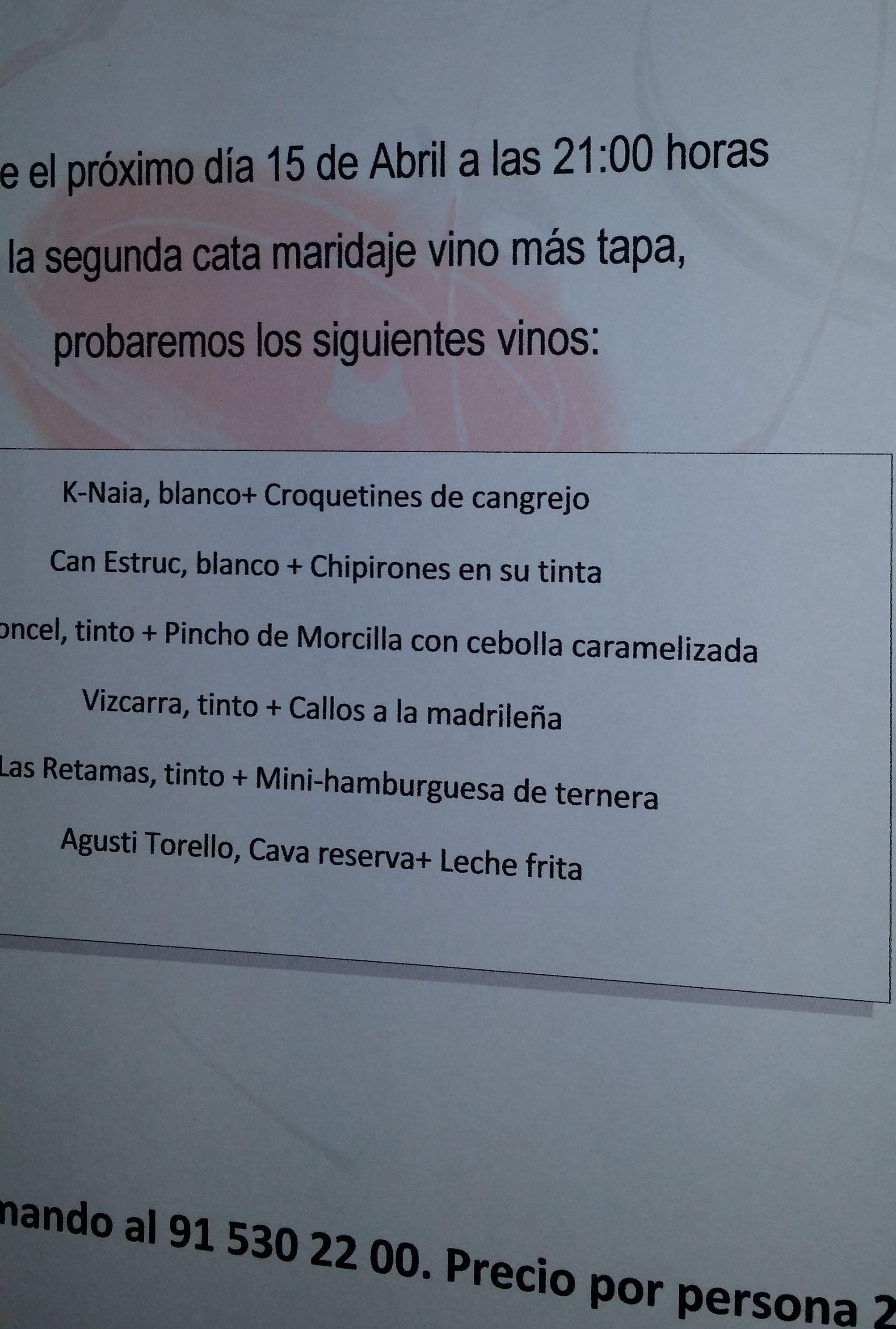 CATA MARIDAJE EN CAFETERÍA LA REJA.