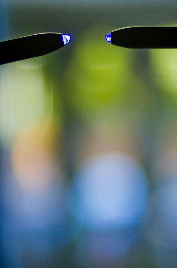 Aparato Cromo lux pen para cromoterapia. Vila Olímpica de Barcelona