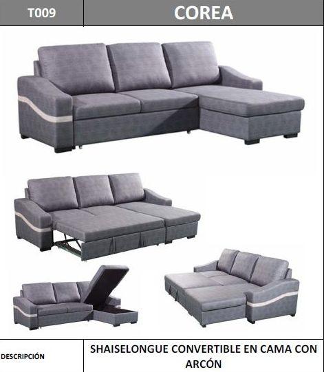 Sofa chaiselongue convertible en cama