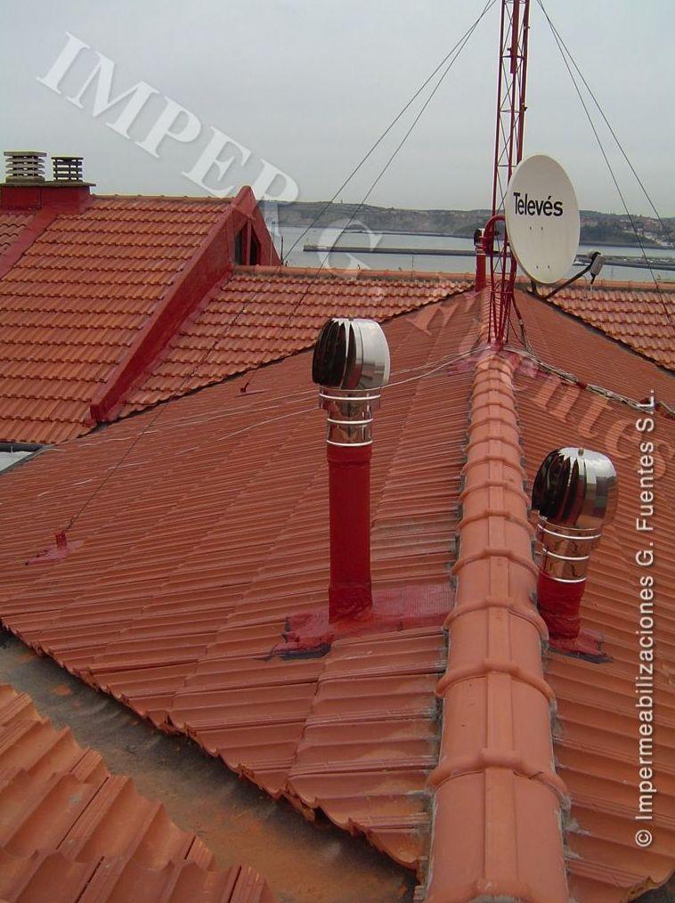 Reparaciones en salidas de gases (tipo shunt). Colocación de aspiradores giratorios