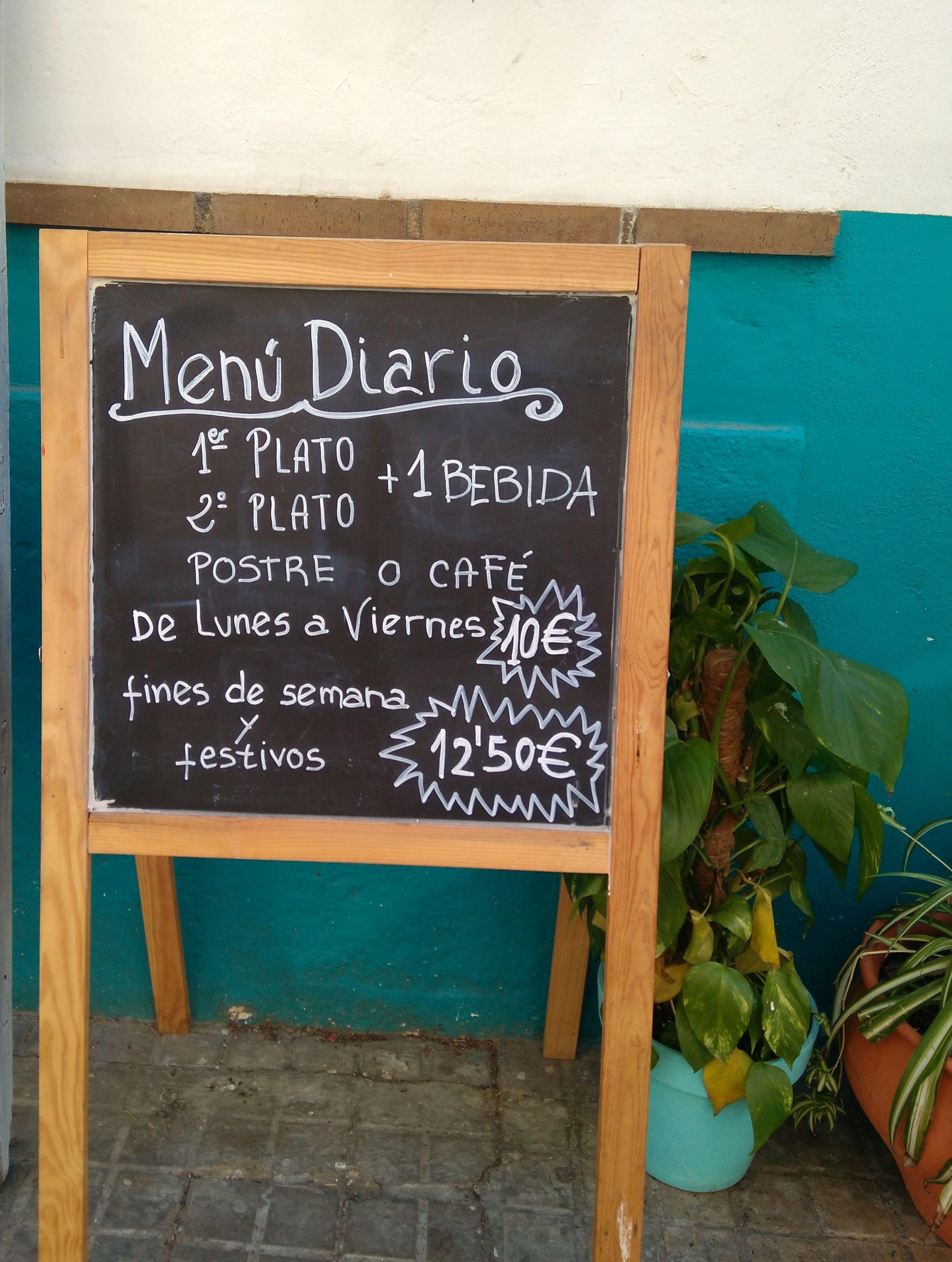 Menú diario Restaurante Pan Comido