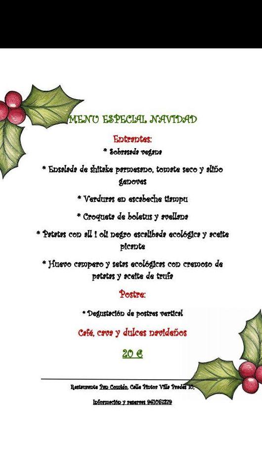 Menú Especial Navidad, Restaurante Pan Comido