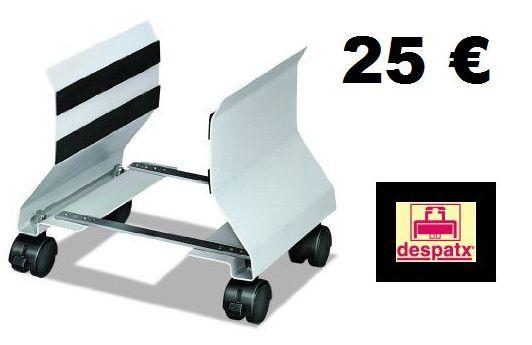 soporte metálico con ruedas para el cpu en color plata o blanco