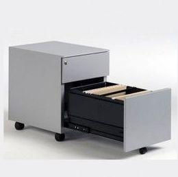 buc metálico de cajón y archivo en color aluminio.