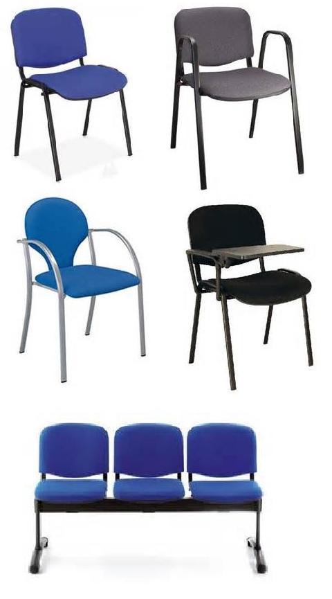 sillas fijas con brazos o sin brazos y bancadas tapizadas