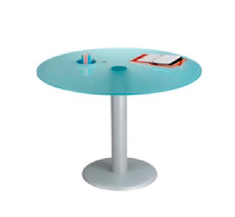 imagen de mesa redonda para reuniones en cristal translúcido.