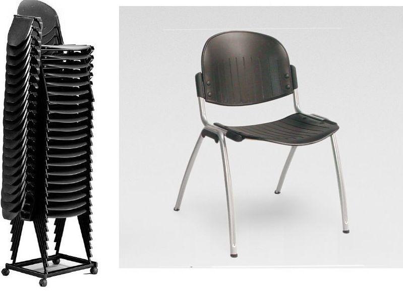 silla económica apilable con pala de escritura