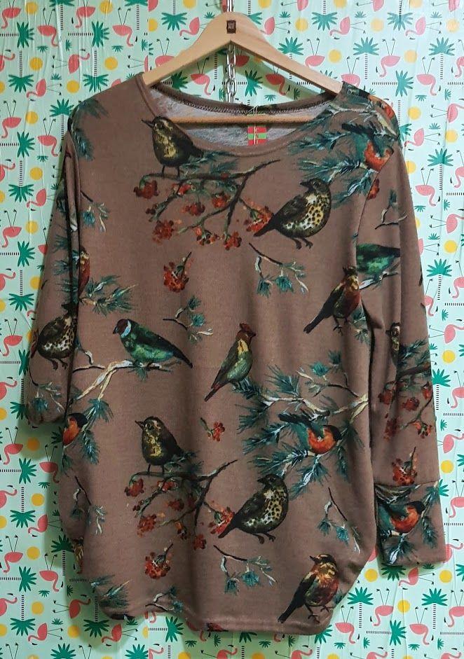 Blusa estampada de pájaros tonos tierra: Productos de Picnic Moda Urban y Pinpilinpauxa