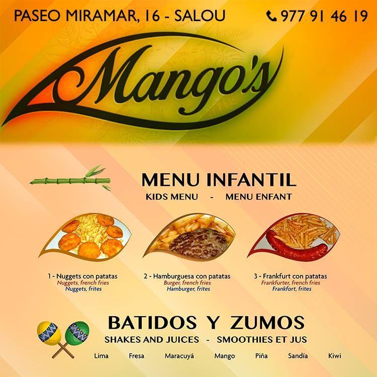 Menú infantil: Restaurante - Coctelería de Mango's