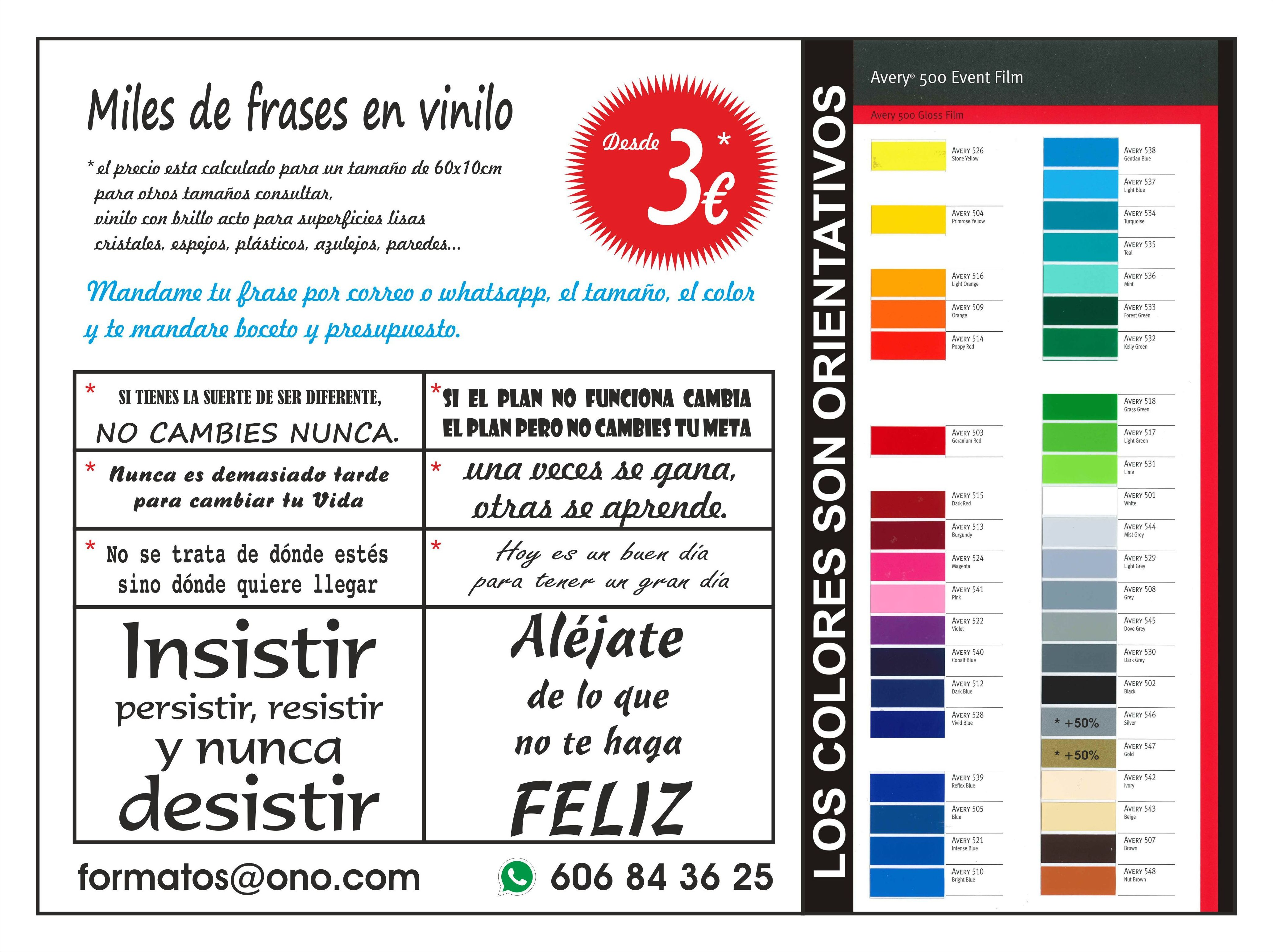 FRASES EN VINILO DESDE 3€: Productos y servicios de Papelería Formatos
