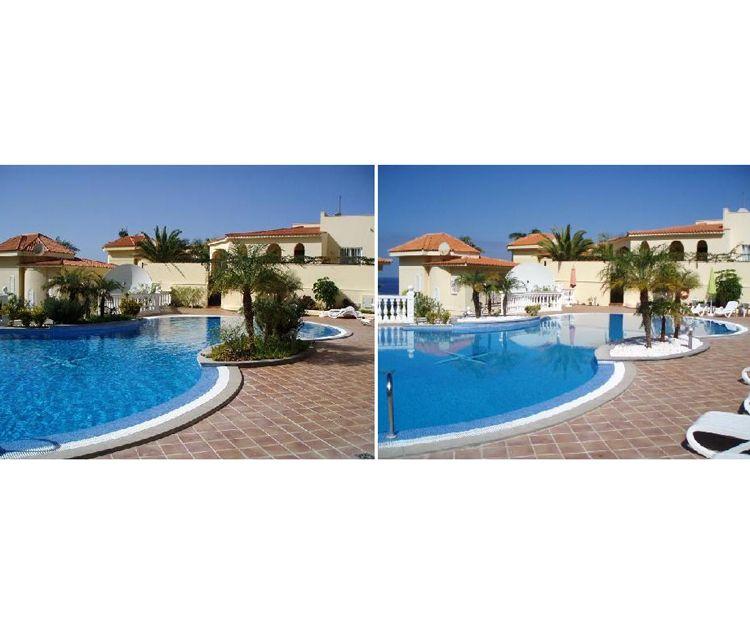 Antes y después de jardín para piscina