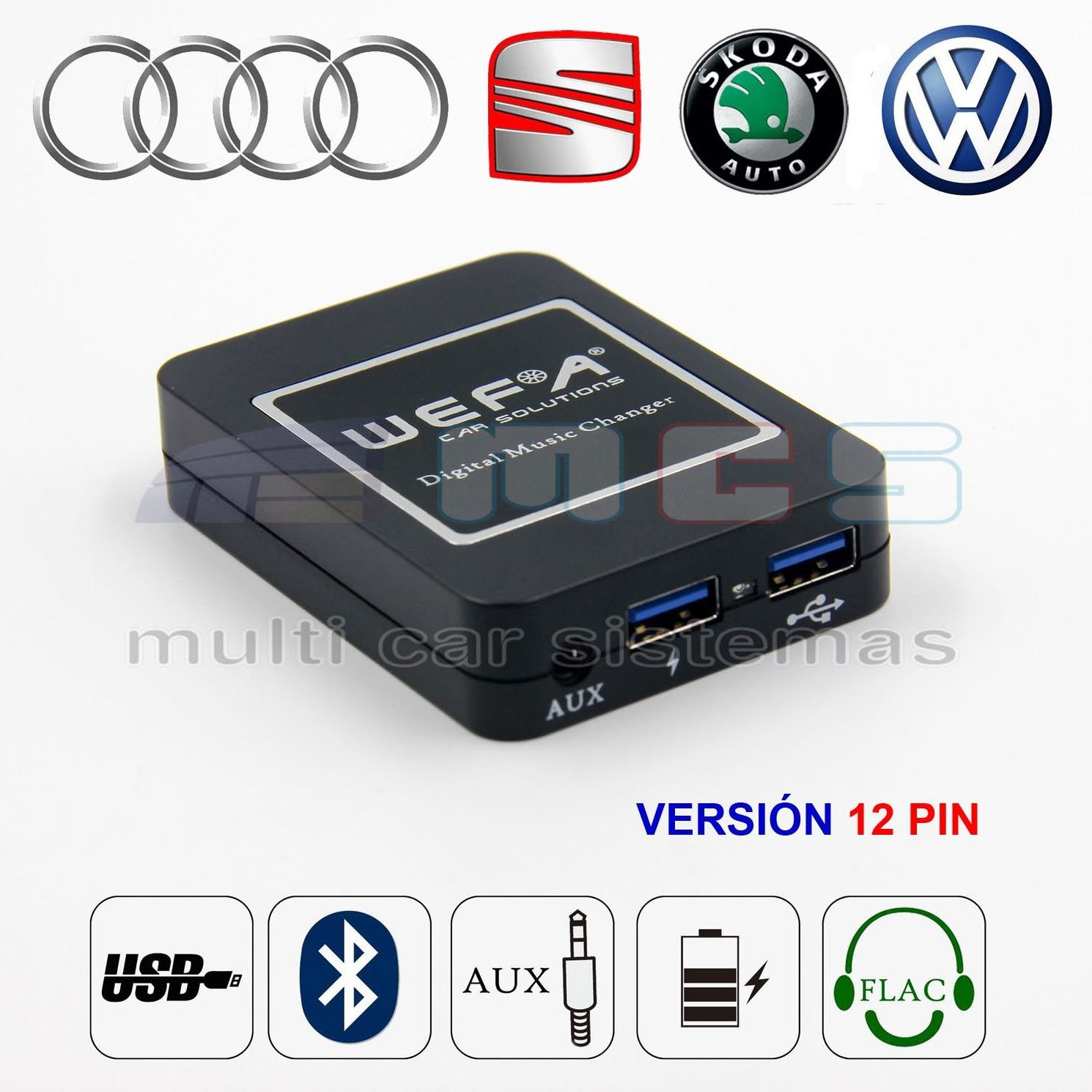 WEFATECH DMC DIGITAL MUSIC CHANGER VW AUDI SEAT SKODA  12 PIN }}