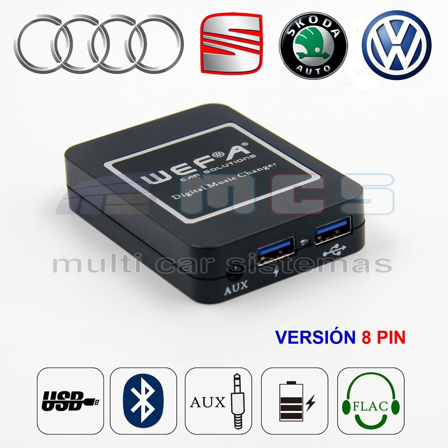WEFATECH DMC DIGITAL MUSIC CHANGER VW AUDI SEAT SKODA  8 PIN