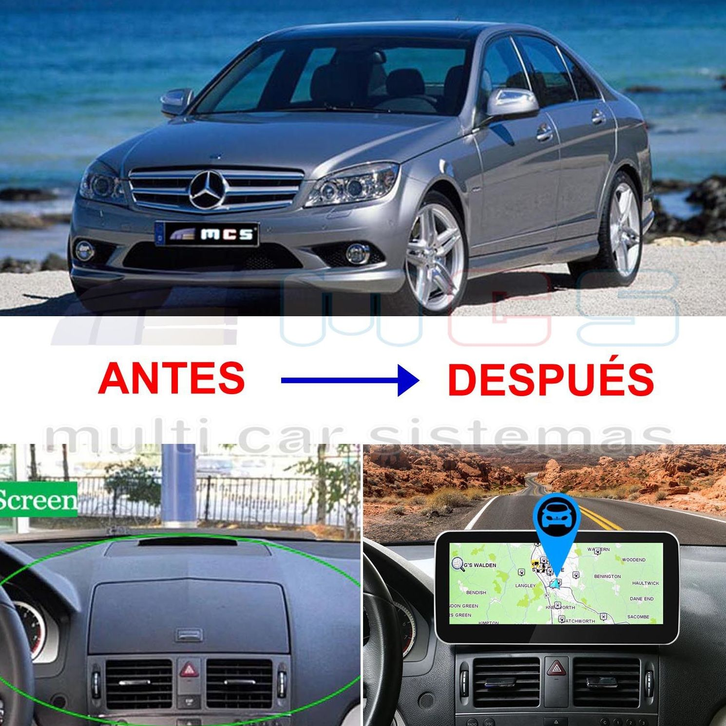 Monitor Pantalla táctil Android Mercedes Benz Clase C W204 Prestyling Audio 20 APS-50 Comand NTG-4 NTG4