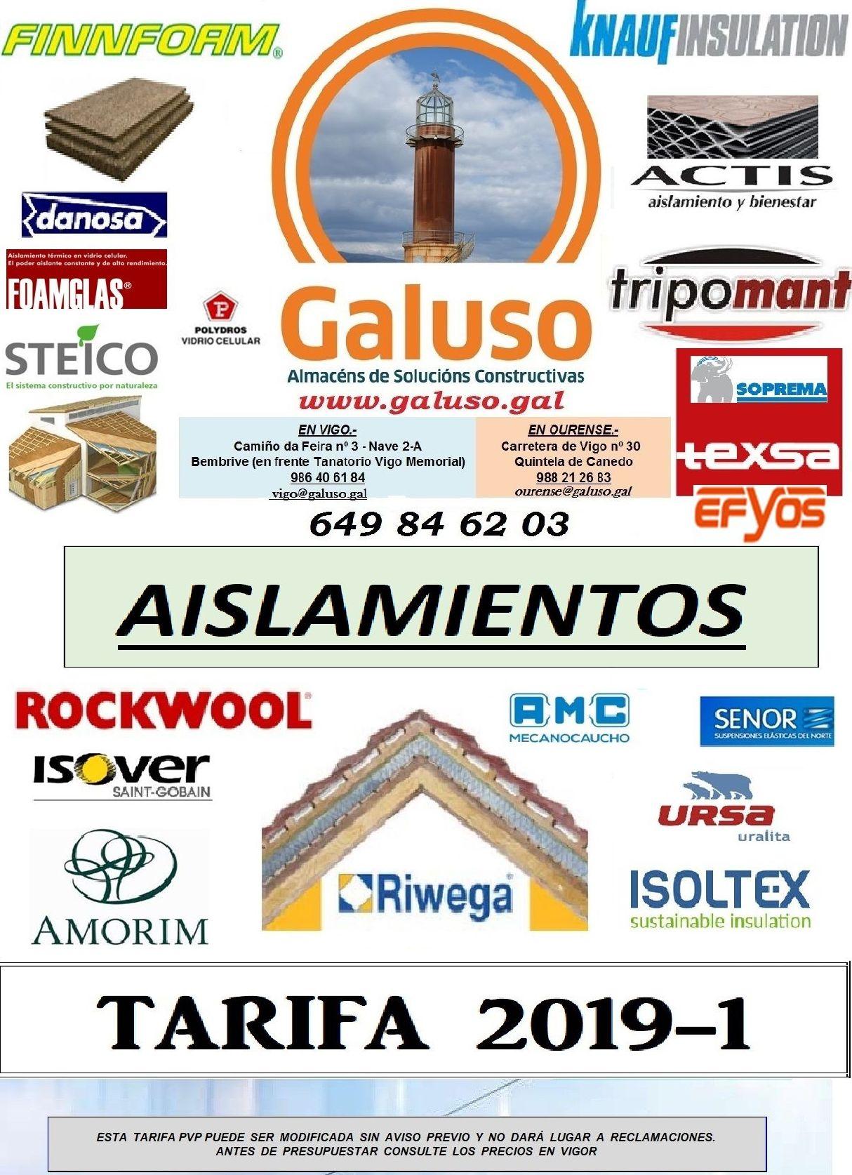 TARIFA AISLAMIENTOS : Catálogo de Galuso