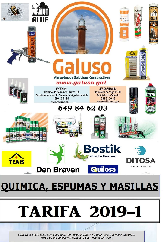TARIFA QUIMICOS Y MASILLAS: Catálogo de Galuso