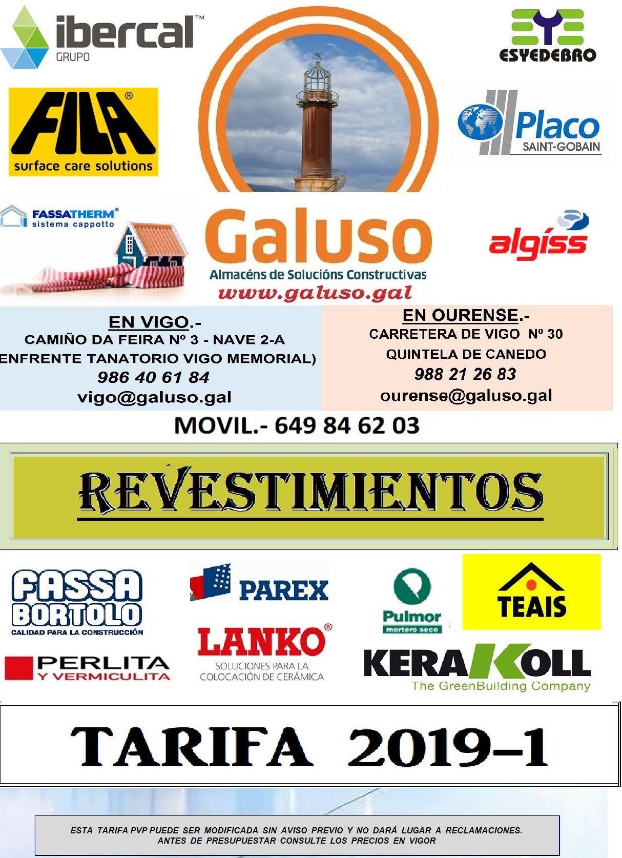 TARIFA REVESTIMIENTOS : Catálogo de Galuso