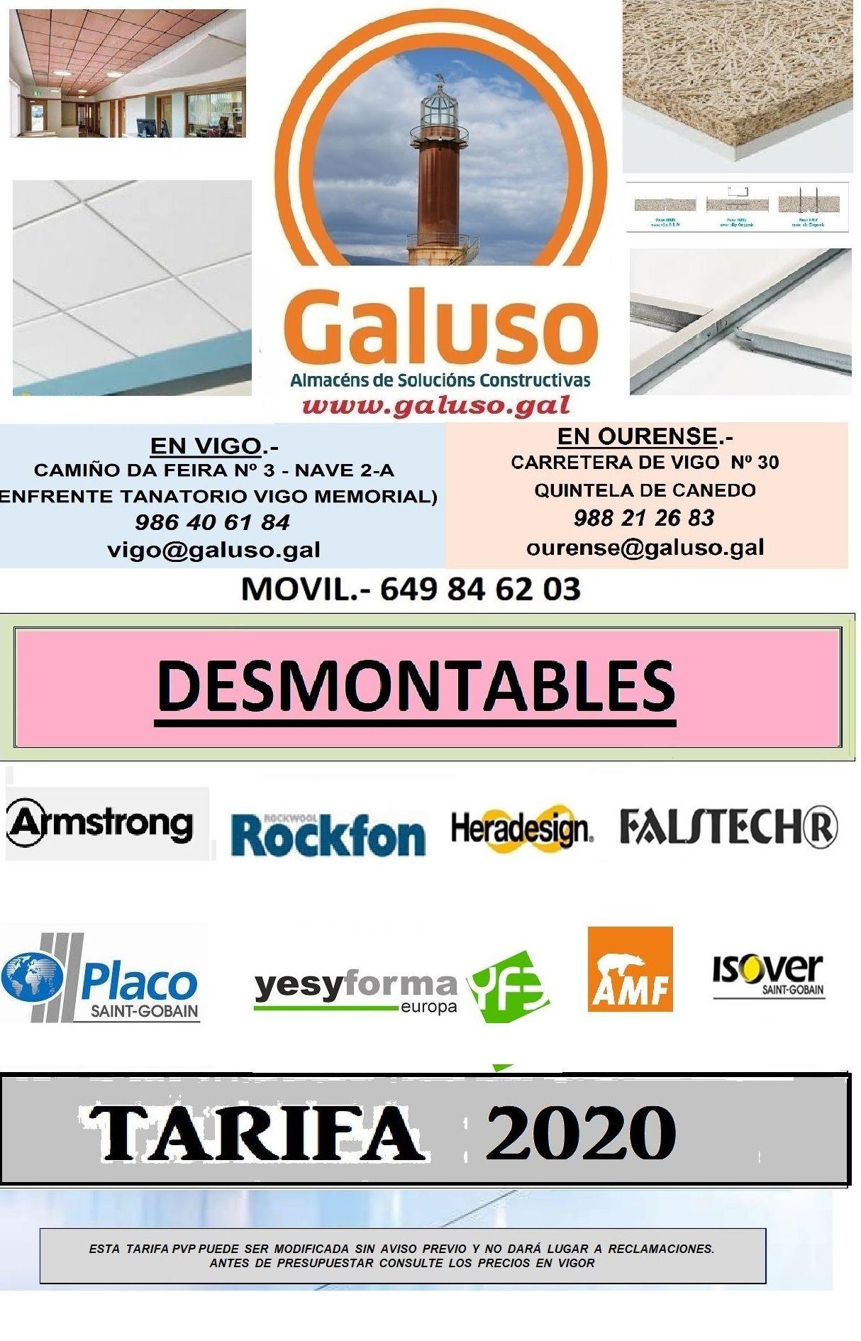 TARIFA DESMONTABLES 2020: Catálogo de Galuso