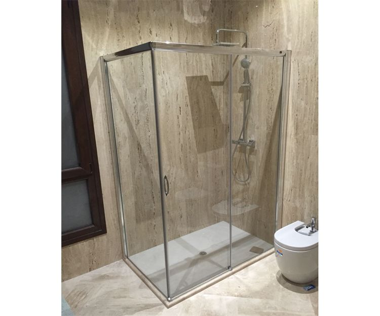 Plato de ducha con mampara de aluminio