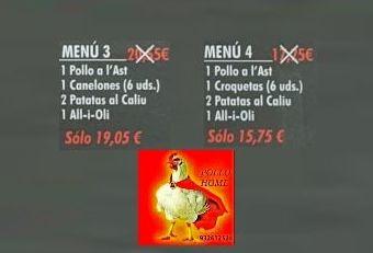 Variedad de menús en oferta