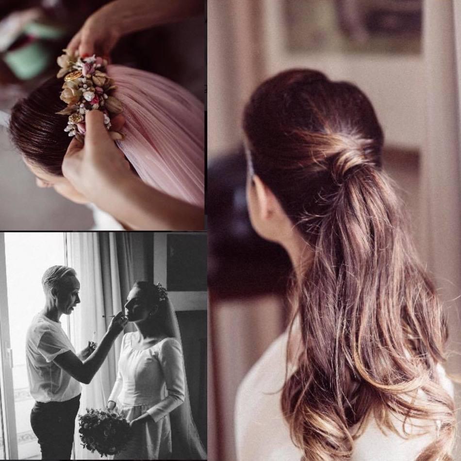 """Beatriz una de nuestras novias de otoño, con coleta y su velo rosa le dio un """"puntazo"""" al vestido de Carlota Hormaechea.  Tocado Anita Ribbon Fotos Yulia Ignetova."""