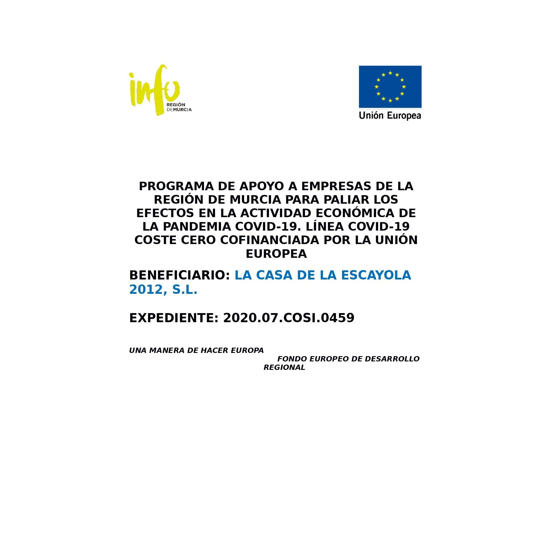 Programa de apoyo a empresas: Productos de La Casa de la Escayola