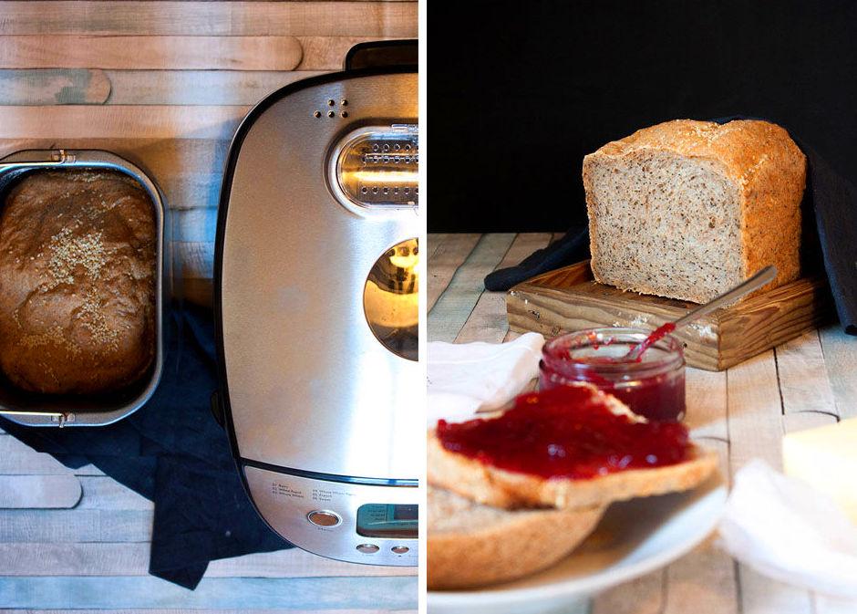 Pan integral con semillas de amapola y lino con panificadora de Lacor