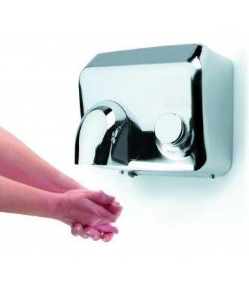 secador de manos con pulsador