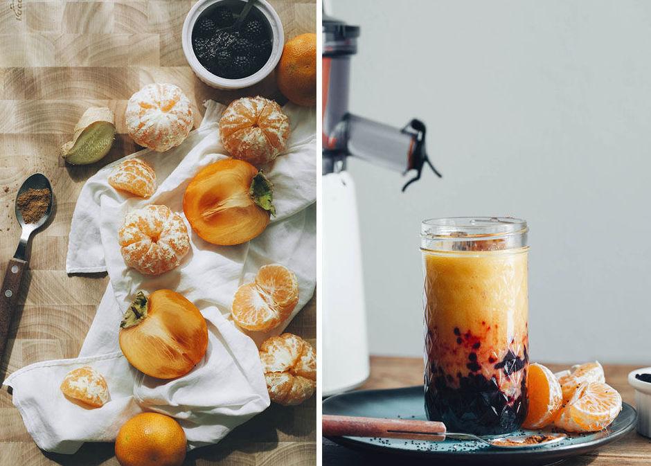 Zumo otoñal de mandarina y caqui con moras