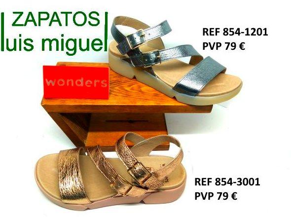 sandalias cruzadas wonders cromo y dorado: Catalogo de productos de Zapatos Luis Miguel