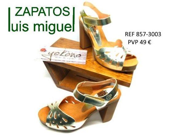 sandalias doradas de yokono tacon alto y supercomodo: Catalogo de productos de Zapatos Luis Miguel
