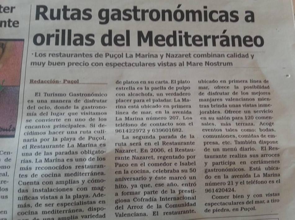Noticias sobre Restaurante la Marina
