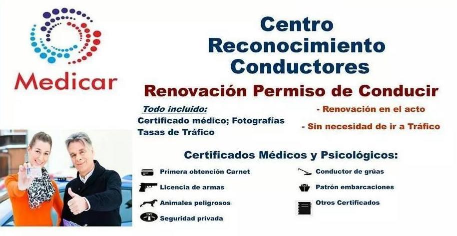 Centro reconocimiento conductores Valencia, Renovar carnet conducir Valencia, Renovacion permiso de conducir Valencia, Medicar Centro Medico Bentusser