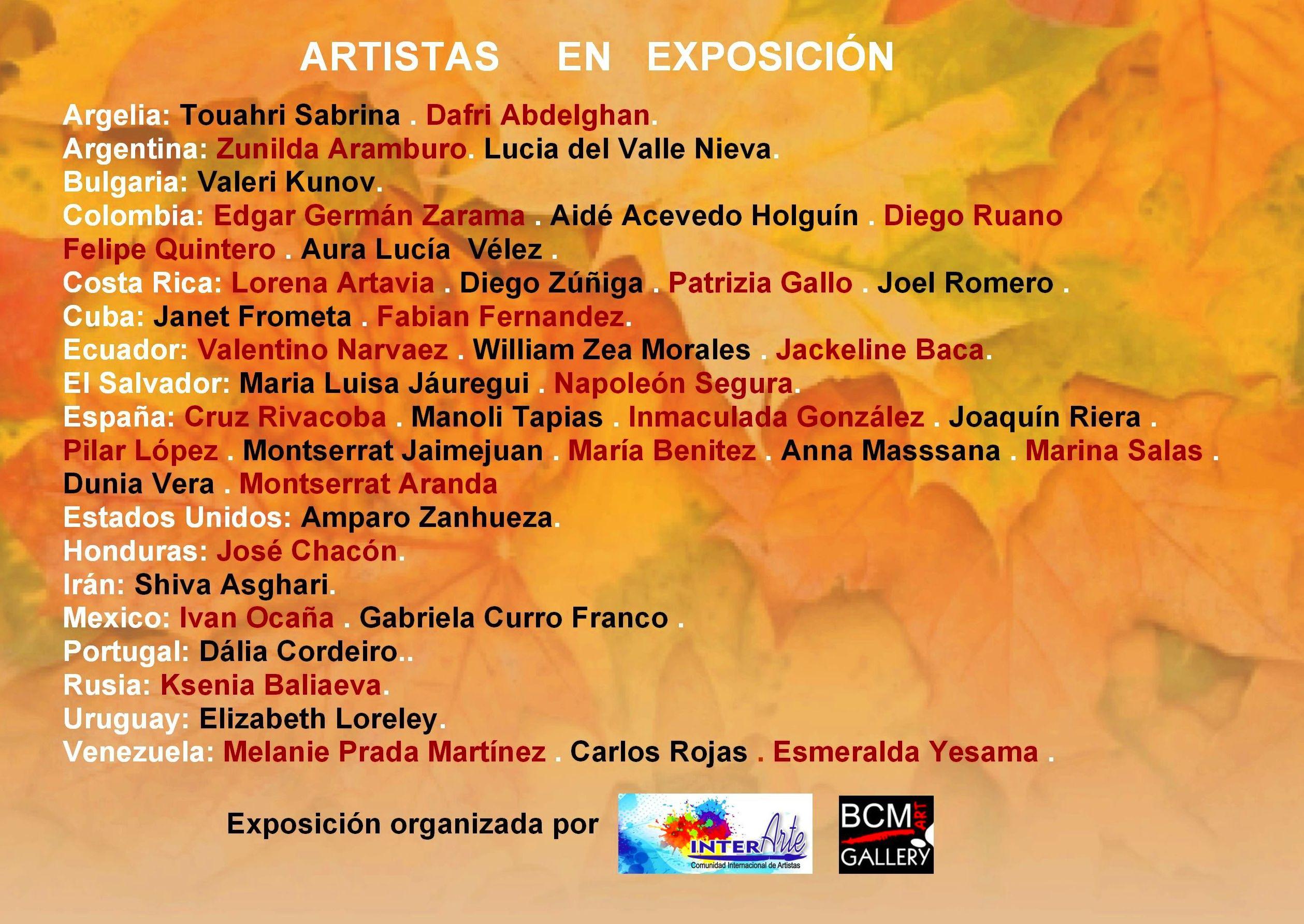 Salón Internacional  otoño  INTERARTE, Comunidad Internacional de Artistas: Exposiciones y artistas  de BCM Art Gallery